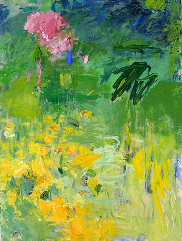 abstract landscape, spring summer blooms, garden art, colorful palette