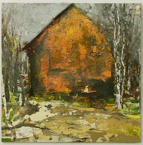 New England barn, fall, Light heat simmering sun fire elemental
