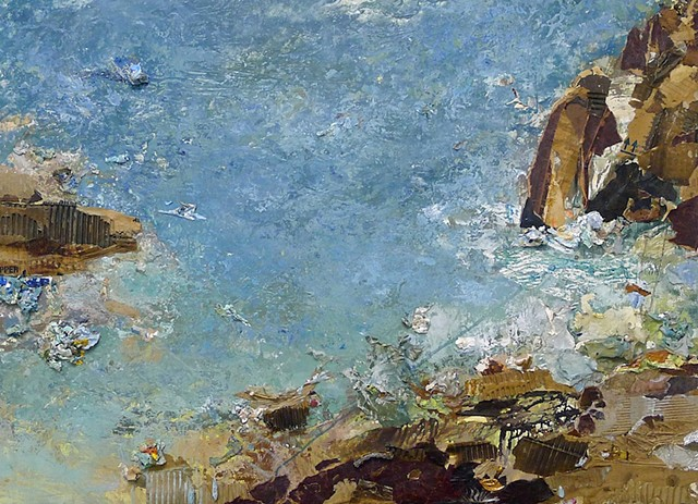 ocean, rocks, new England seascape,contemporary, modern,mixed media, collage
