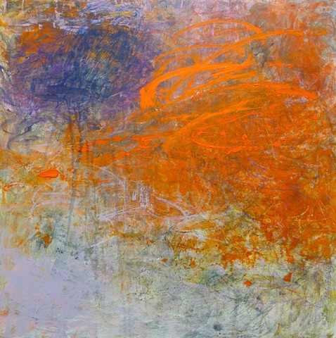 Gestural abstraction, bright and vivid colors, orange, purple, lilac, drips
