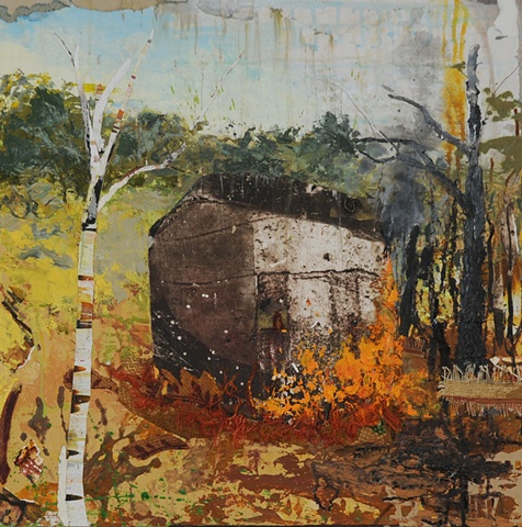fire element spiritual new england barn Fall collage painting landscape birch tree