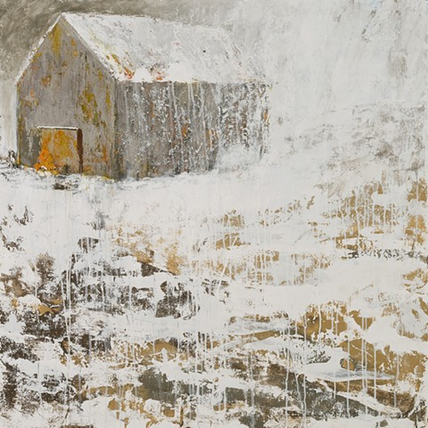 New england barn winter snow landscape
