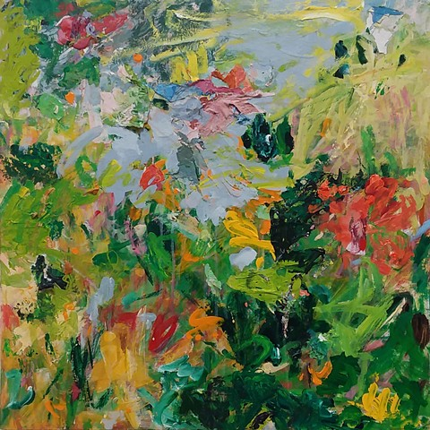 abstract landscape, spring summer blossoms, green, pink, red, yellow, garden art,, colorful palette