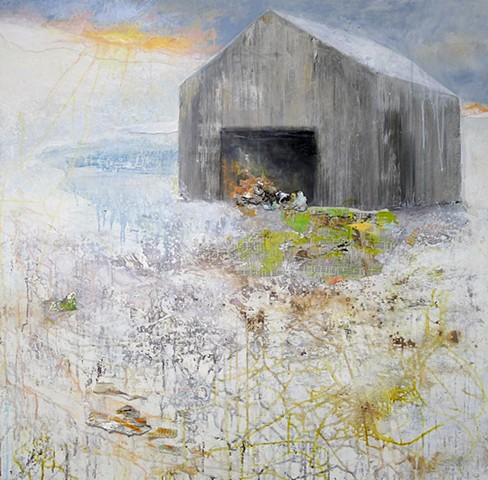 new england barn winter snow sunset landscape painting collage contemporary impressionism modern
