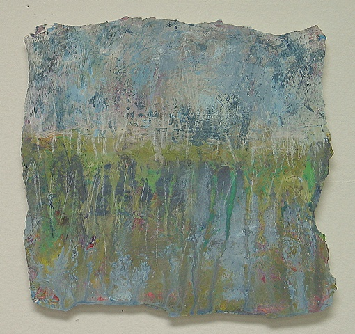 small landscape painting blues greens, marshland, water