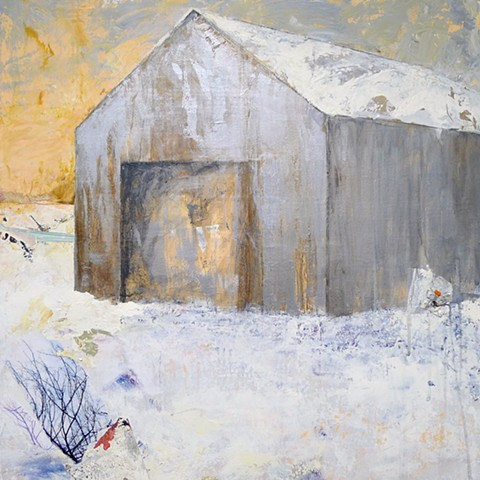 winter contemporary landscape barn, snow, bronze, brown, grey, red