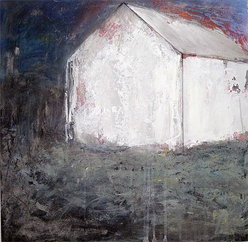 midnight, moonlight, white barn, red, blue, grey, spiritual landscape, contemporary