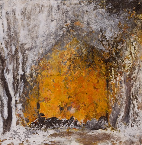 New England home, barn brush fire landscape powerful orange