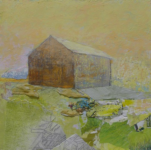 contemporary barn, landscape, bright, light, yellow, green, collage, modern