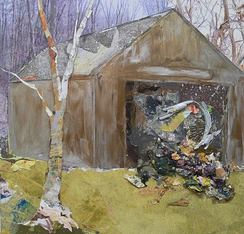 Contemporary landscape, metallic bronze, gold, silver, barn, mixed media