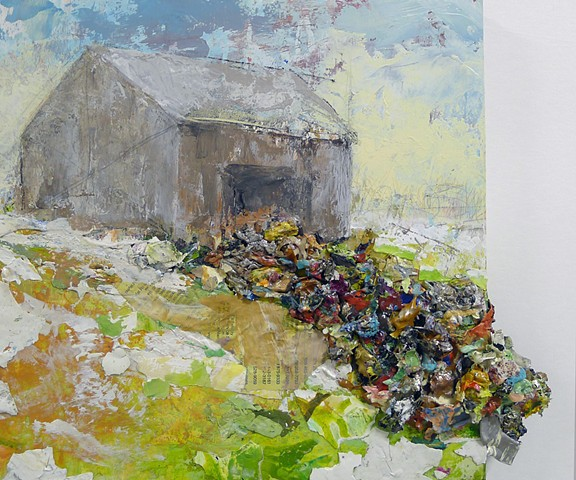 Barn contemporary landscape, snow, spring, textural, texture, collage, modern painting
