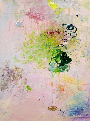 Vertical abstract garden painting,Spring, pink and green, garden, flowers, colorful, happy, abstract