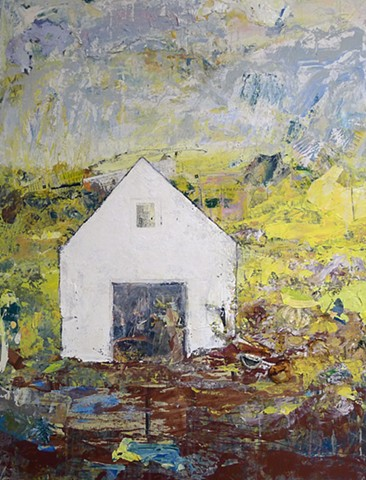 contemporary landscape, white barn, house, yellow, green, copper, purple, blue, mixed media