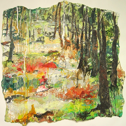 square painting landscape spring geens red yellow forest woods mid coast maine botanical garden