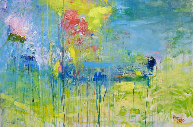 horizontal abstract waterscape blues, green, yellow, pink, joy of life, drips