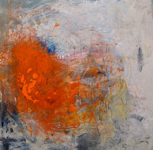 gestural abstraction, bright and vivid colors, orange, red, Blush, blue, gray,