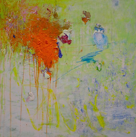 abstract landscape, spring summer green, orange, garden art,, colorful palette