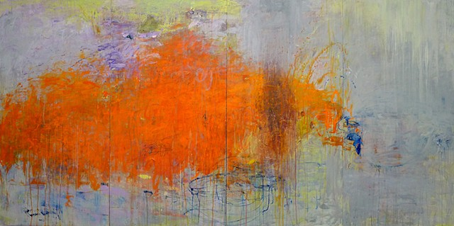 Bright and vivid colors, Gestural Abstraction, contemporary painting, orange, lime green, blue, brown, abstract