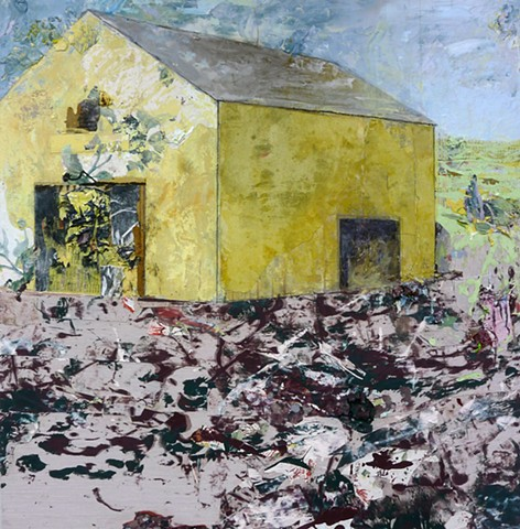 Yellow, Lilac, purple, deep green, blue Contemporary landscape, barn, mixed media, abstract