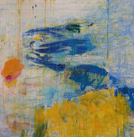 abstract landscape, abstract seascape, summer, yellow and blue, orange sun, colorful palette