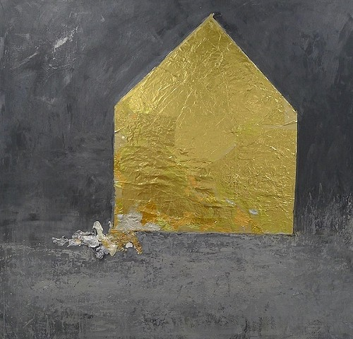 metallic Gold house, mixed media, power, elegance, chic rich, repurposed chocolate wrappers