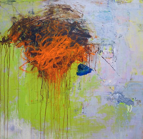 Gestural abstraction, bright and vivid colors, orange, lime green, blue, lilac, drips, paint skins