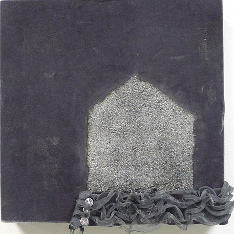house icon, repurposed clothing, asphalt shingle, velvet, home, feminine art