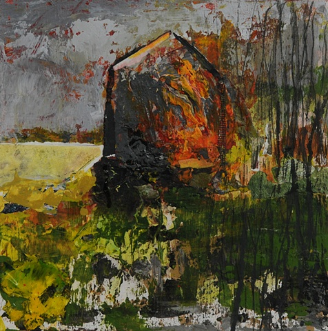home burning fire spiritual element new england landscape barn textural collage