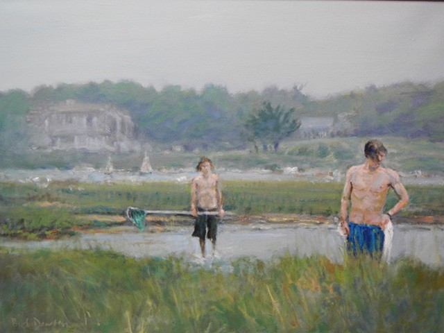 On The Hunt for Crabs  --   21 x28 oil on canvas
