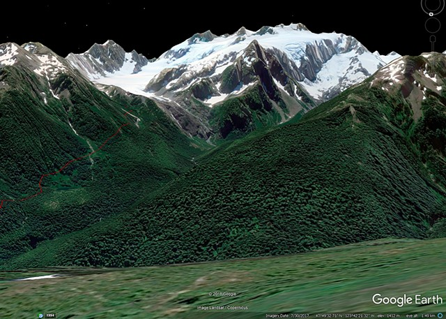 Where we should have been for the best Olympus View - about 1.4 km East of High Divide Junction  June 2019