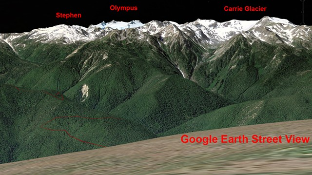 Google Earth View of Mt Olympus when there is no cloud