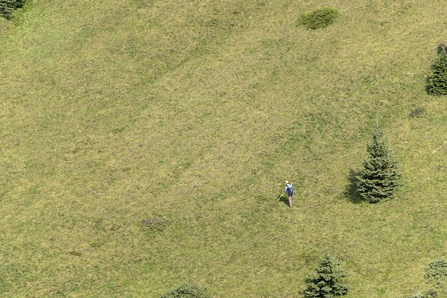 Traversing a Steep Green Slope  Aug 2018