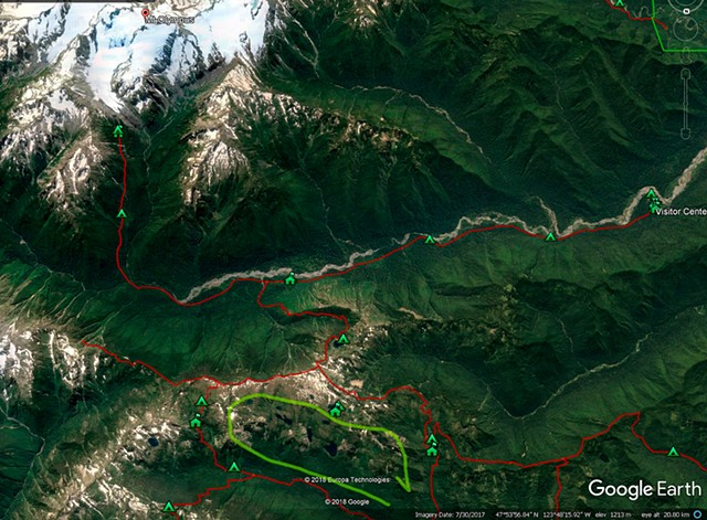 Google Earth View of Hiking Area showing Mt Olympus and the Hoh River Valley