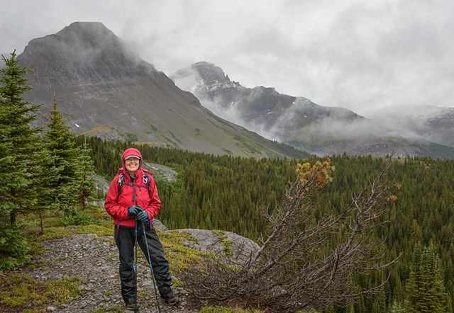 Cathy on a Wet Morning below East Coleman  Aug 2019