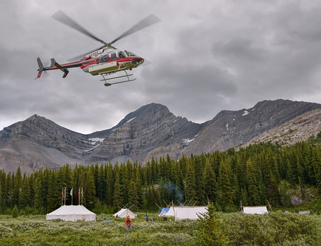 Heli Hovering Over Camp  Aug 2019