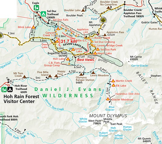 Park Map of Sol Duc Hiking Area  June 2019