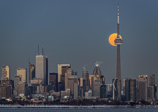 CN Tower Moonrise  December 2013