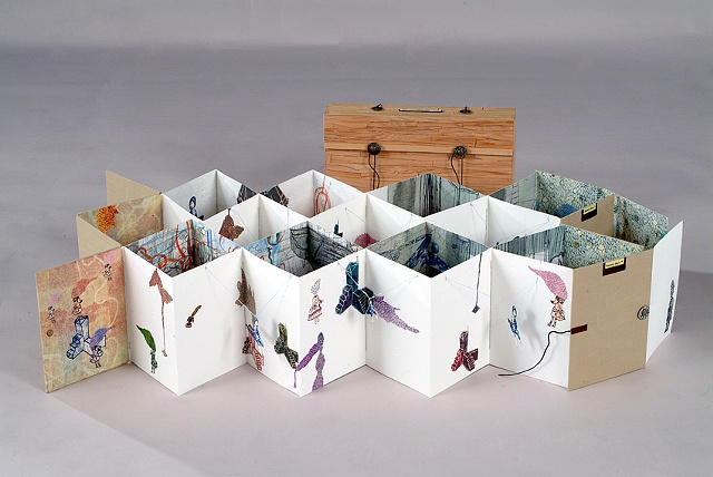 Snowy days / 2009 / Bookmaking, digital printed images, collage , sewing / 8 x 6 x 4 (inches)