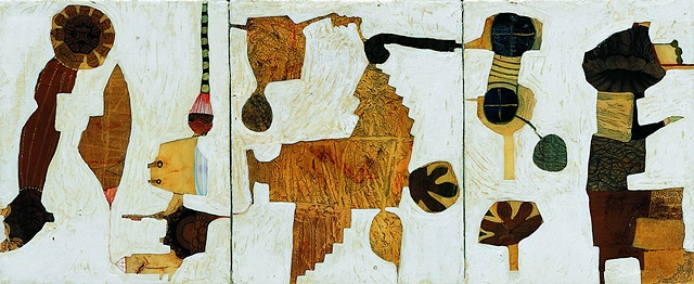 Floating objects-III / 2004 / Monotype, collage,painting, epoxy-resin / 30 x 12 (inches)