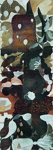 Balloons-I / 2004 /Monotype,painting,sewing,beads/ 16 x 42 (inches)