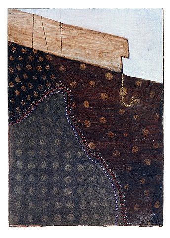 Brown fence / 2003 / Painting,sewing / 5 x 7 (inches)