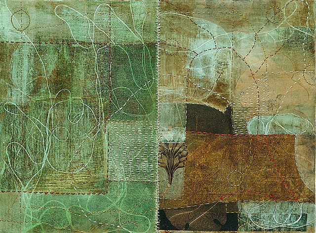 Floating map /2003 / Monotype,painting,sewing,collage / 16 x 12 (inches)