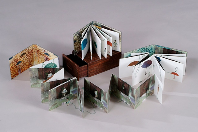Rainy days / 2009 / Bookmaking, digital printed images,collage, sewing / 6 1/2 x 4 x 3 1/2 (inches)