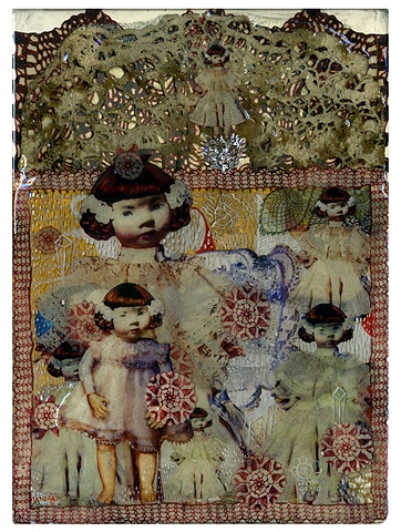Crochet of reminiscences-I / 2008 /Digital printed images,collage,painting,crochet,epoxy-resin / 11 x 15 (inches)