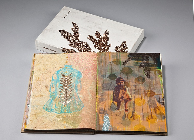 Secret garden / 2010 / Bookmaking,monotype,silkscreen,painting,collage / 7 x 9 x1 1/2 (inches)