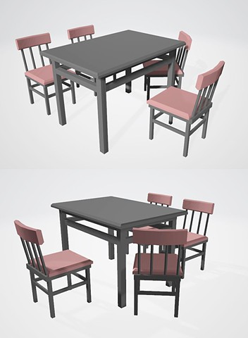 Table and chairs_ 3D Modeling