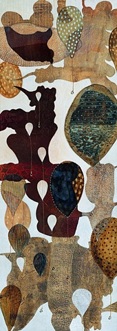 Balloons-II / 2004 /Monotype,painting,sewing,beads/ 16 x 42 (inches)