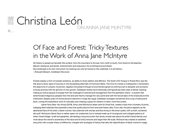 Of Face and Forest: Tricky Textures in the Work of Anna Jane McIntyre by Christina León  VLOSA catalogue