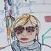 Art Walk Westmount street fair 2012 June 16,17, Inaccurate portraiture experiment: Elizabeth with a zed