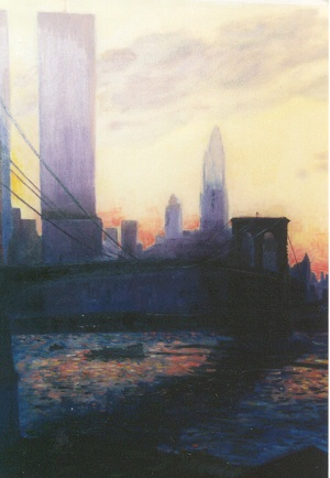Painting of the Brooklyn Bridge and World Trade Center overlooking the east river at sunset in lower Manhattan New York City